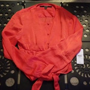 NWT Guess LS Simona Tie Front Blouse